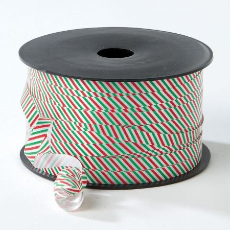 Christmas Red & Green Stripes Curling Ribbon - 250 Yards, 1/4' Wide, thermoplastic