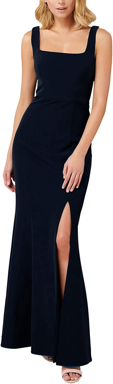 Linsery Women's Bridesmaid Gown Wedding Guest Square Neck Slit Maxi Dresses