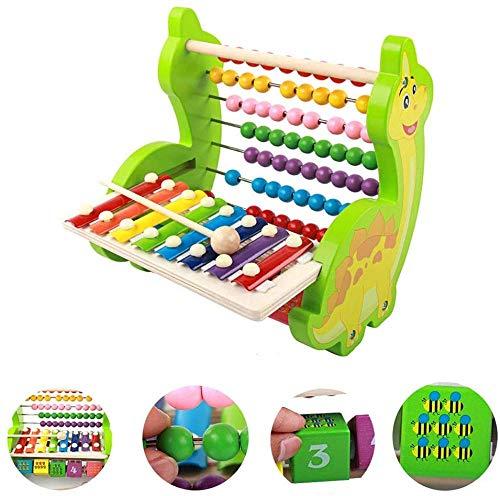 8 Tone Kloppende piano Houten speelgoed voor kinderen Multifunctionele dinosaurus-kloppende piano Rekenstandaard Vroege educatie Puzzel digitale kralen