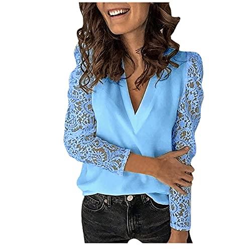 Blusas y camisas para mujer, talla grande, encaje sólido, empalme de manga larga, blusa delgada, cuello en V, túnica suelta para mujer