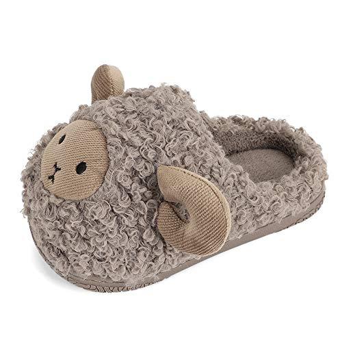 LACOFIA Zapatillas Casa de Invierno para Niños Pantuflas Animales Zapatos de Peluche de Interior Antideslizantes para Niñas Gris 26/27