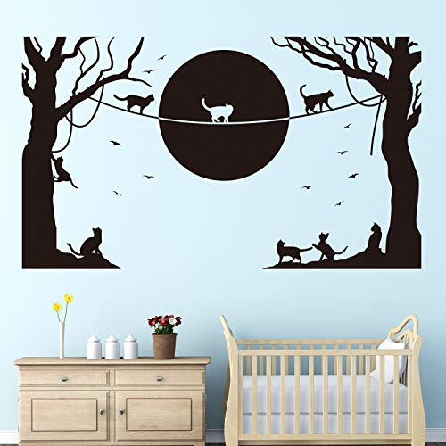 VODOE Cat Wall Decals, Animal Wall Decals, Cartoon Bird Tree Moon Silhouette Boys Girls Nursery Baby Stickers Suitable for Family Living Room Vinyl Art Home Decor(Black 26.7 X 15.7 inches)