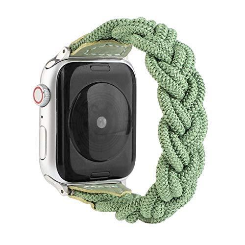 KTZAJO 2021 La última correa tejida para Apple Watch Band 44 mm 40 mm iWatch 38 mm 42 mm Correa Nylon Sport Loop pulsera para reloj de la serie 6 5 4 3 SE (color: verde, tamaño: para 38 mm y 40 mm)