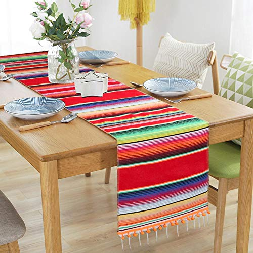 AerWo Mexican Table Runner Upgraded Serape Table Runner, Handwoven Fringe Cotton Serape Blanket Table Runner for Cinco De Mayo Fiesta Party Supplies, 14in x 84in