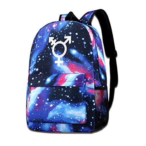 NFRRT Transgender Symbol Galaxy Casual Daypack - Blue Unisex Backpack Shoulder Bag for School Travel