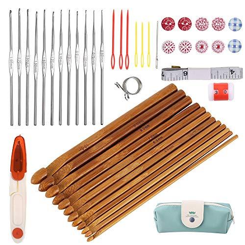 Nsiwem Agujas de Ganchillo 12 Piezas Bambú Ganchillos Crochet 3mm-10 mm Agujas de Punto con 12 pcs Metal Agujas de Ganchillo 0,6-1,9 mm y Accesorios de Tejer para Ganchillo Proyectos