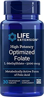 Life Extension High Potency Optimized Folate L-Methylfolate 5000 mcg 30 vegetarian tablets - 4-Pak
