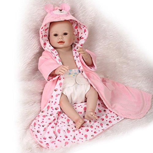 Nicery Reborn Baby Doll Réincarné bébé Poupée Difficile Simulation Silicone Vinyle 20 Pouces 50cm Bouche Qui Semble Vivant Imperméable Garçon Fille Jouet Vif réaliste Âge 3+ Pink Bear