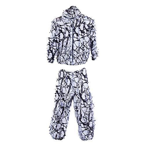 Amagogo Ropa de Camuflaje de 3DLeafy para Adultos Chaqueta de Traje Ghillie Pantalones con Capucha Jungle