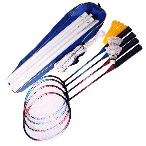 PRO-Sports Badminton Komplett-Set Federballspiel 4 Schläger/Netz/Bälle