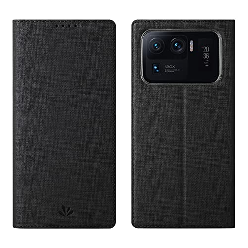 Foluu Funda para Xiaomi Mi 11 Ultra Case, Flip Folio Wallet Case Slim Premium PU Cuero Case ID Tarjeta de crédito Kickstand Cierre magnético TPU Bumper Case para Xiaomi Mi 11 Ultra 2021 (negro