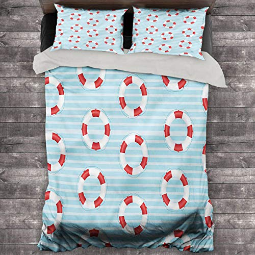 LanQiao Buoy Summer Duvet Cover Life Preserver Crisis. 68'x86' inch Duvet Cover Pillowcase