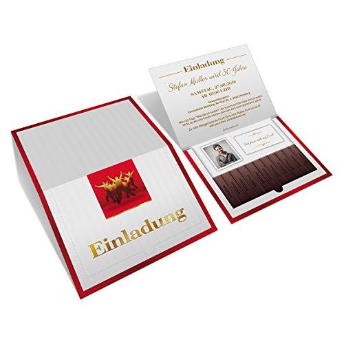 Einladungen (30 Stück) zum Geburtstag als Danke Schokolade Klappkarte mit Foto