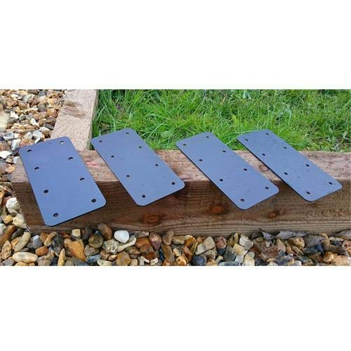 Pack of 10 X Straight Timber Railway Sleeper Brackets Wooden Planter Raised Bed Edging - Black