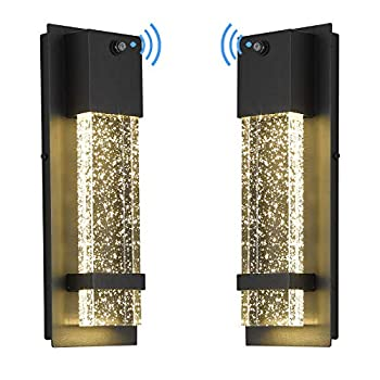 LED Dusk to Dawn Outdoor Light Fixture - HWH Exterior Wall Sconce Porch Light 2 Pack Outside Wall Lights in Black Finish with Crystal Bubble Glass 5HW9-B-P-2PK BK