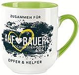 vanVerden Taza Curved – Taza donante – Constructor inundación 2021 Ahrweiler – Impresión por ambos lados – Idea de regalo – Taza de café, color blanco y verde