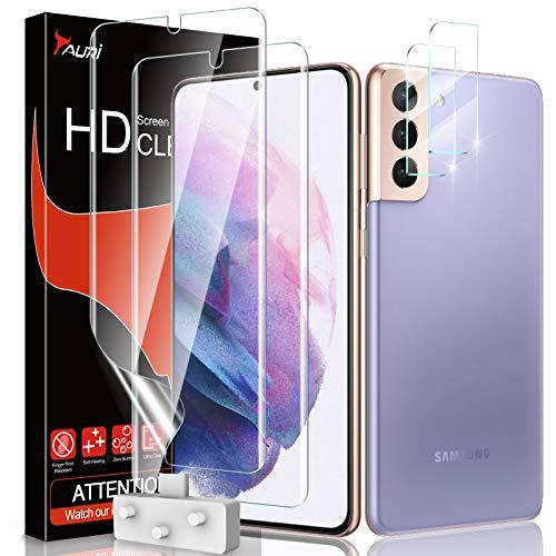 TAURI 4 Pack Protector de Pantalla para Samsung Galaxy S21 con 2 Pack HD Película de TPU y 2 Pack Protector de Lente de Cámara - Sin Burbujas Huella Digital Ultrasónica Fácil de Instalar