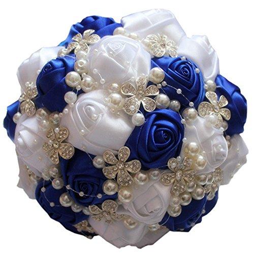 Quibine Bouquet de Mariage Fleurs Rose Satin Strass Perle Bouquet de Mariée, Dia: 21cm, Saphir+Blanc