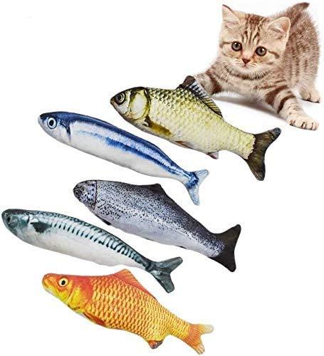 Spielzeug mit Katzenminze, 5 Stück katzenspielzeug Fisch, Fische Katze Kissen Kauen Spielzeug Set, 20CM Simulation Fisch, Interaktive Katzenspielzeug zu Spielen, Beißen, Kauen und Treten