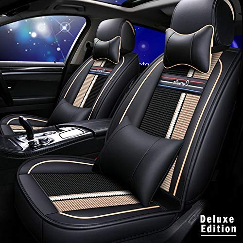 Gullivery Car Seat Cover 5 Seat,For VW GOLF 6 (5K1) 2008-2010 Regular Version Car Seat Protection, Waterproof Leather Full Set Pads with Headrest Lumbar pillow Beige
