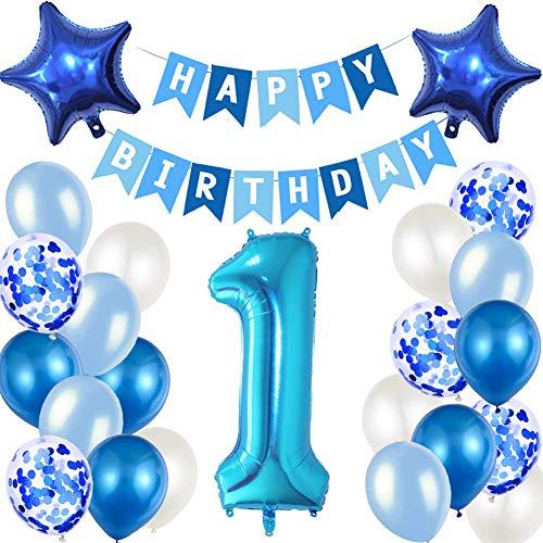 MAKFORT Decoración para cumpleaños de 1º cumpleaños, guirnalda y globos azules, confeti, globos para fiesta de cumpleaños, decoración para 1 cumpleaños de niño