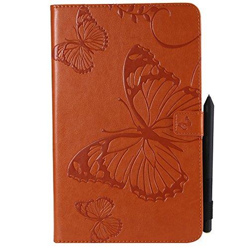 MoreChioce kompatibel mit Samsung Galaxy Tab A 10.1 Hülle,Dünn Orange Schmetterling Muster Ledertasche Schutzhülle Smart Cover Stand Flip Tablet Case Magnétique für Galaxy Tab A 10.1 T580 T585