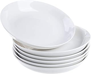 Cutiset 24 Ounce Porcelain Salad/Pasta/Fruit Plates, Set of 6, White, Shallow and Wide (8-inch/24 Ounce, Round)