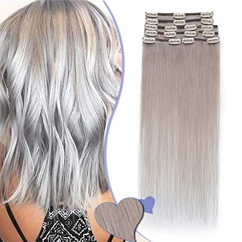Elailite Extension Capelli Veri Clip Set da 8 Ciocche Grade 8A Remy Human Hair Naturali Allungamento Quickclip [Normal Weft, 35cm (60gr)] #Grigio
