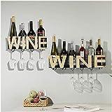 Estante de vino colgante, estante de copa de vino Soporte de copa de vino de hierro, colgante boca abajo Pared de la sala de estar Pared de vino Estante de vino Estante de almacenamiento de pared