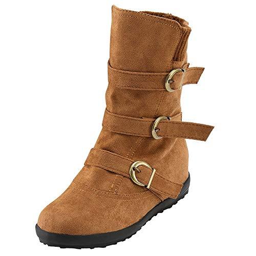 Botines Mujer Ante Cuero Zapatos de Plataforma Cremallera Lateral Hebilla Botas De Nieve Caliente Cómodas de Tacón Plano Otoño Bota Corta Rojo Marrón 35-43 riou