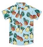 Little & Big Boys Ananas Pattern Shirt Awesome Cute Designer Hawaiian Attire Juniors Bright Blue Pineapple Polo Shirts Size 11/12 Yrs Bamboo Beach Aloha Party Camp Short Sleeve Luau Dresses