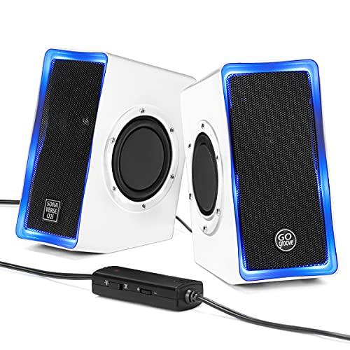 GOgroove SonaVERSE O2i LED PC Boxen für Laptop und Computer USB Lautsprecher für Gaming Desktop mit Verkabelter Kopfhörerbuchse AUX-Audioeingang, Blaue Lichter und Lautstärkeregler - weiß