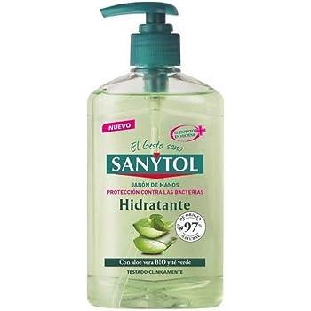 Sanytol - Jabón de Manos Hidratante Antibacteriano, con Aloe Vera y Té Verde - Dosificador de 250 ml