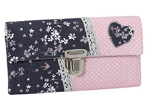 Damenbörse Damen Geldbörse Portemonnaie Stoff Blumen Rosa Grau Punkte Handmade