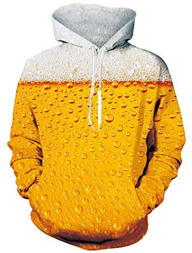 ALISISTER Herren Pullover Hoodies Personalisiert 3D Bier Grafik Kapuzenpullover Männer Frauen Langarm Kapuzenpull Sweatshirt Kapuzenjacke L