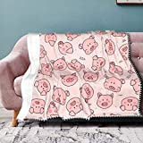 Cute Pigs Throw Blankets with Pompom, Newborn Baby Boys and Girls Blanket, Lightweight Warm Bed Blankets, fit Couch Sofa for All Season