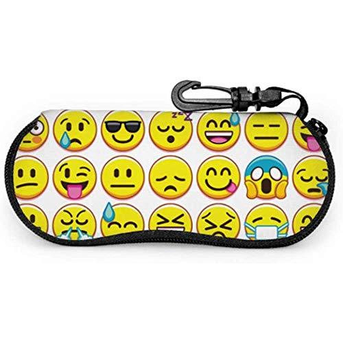 lymknumb Conjunto de diferentes Emojis aislados en gafas de sol Estuche Estuche Estuche de viaje Estuche de anteojos Cremallera de neopreno Estuche blando Estuche de gafas para hombre