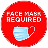 Face Mask Required Sign (5 PCS) for Store Front or Business 7'x 7' Custom Signs Outdoor - Mask Required Sign for Shop, Restaurant, School, Office (Round)