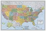 """Laminated United States Voyager Map Poster   Bright Style Map   Includes The Most Legible Location Labels   36"""" x 24""""   Shipped Rolled in a Tube, Not Folded   Great for The Home or Classroom"""