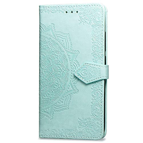 3C Collection Fundas iPhone 7Plus Tapa de Falsa Piel Mandala Verde, Fundas iPhone 8Plus Libro Iman con Tarjetero, Grabado Flores de Funda para iPhone 7Plus y iPhone 8Plus Antigolpes Mujer