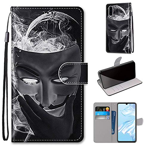 Miagon Flip PU Leder Schutzhülle für Huawei P30,Bunt Muster Hülle Brieftasche Case Cover Ständer mit Kartenfächer Trageschlaufe,Maske