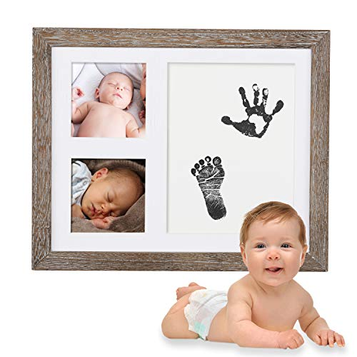 Ultimate Baby Handprint Footprint Picture Kit – with Premium Photo Frame, Safe Ink Stamp Pad, Bonus Stencil & 2X Extra Imprint Cards | Personalized Memento, Newborn Baby Shower Gift Idea, Rustic Brown