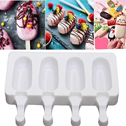 LaceDaisy Eiscreme-Form Popsicle Formen Set EIS Pop Macher mit 4 Fächern, BPA Frei, Weiß, Silikon Eisform Pop EIS Am Stiel Home Küche Werkzeuge Pan#5