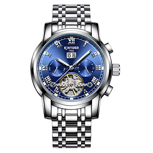 Mens Automatic Skeleton Tourbillon Mechanical Wrist Watches Stainless Steel Date Watch (Blue)