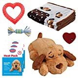 SmartPetLove Snuggle Puppy Heartbeat Stuffed Toy - Pet Anxiety Relief and Calming Aid - Biscuit - New Puppy Starter Kit (Blue)