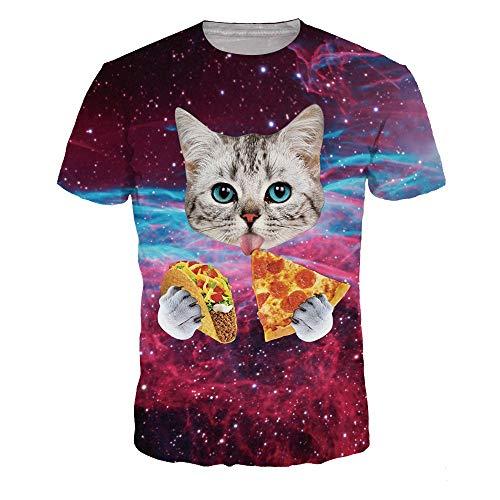 BMSYTY Serie 3D T-Shirts für Männer und Frauen Rundhals Kurzarm Unisex 3D gedruckt Casual Tees Tops Katze T-Shirt,2XL