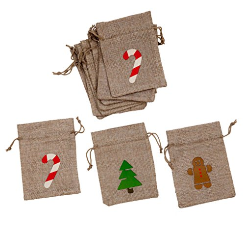 "Christmas Treat Bags 12 Pack - 4"" x 5 1/2"" Burlap Treat Bags with Candy Cane, Gingerbread Man and Christmas Tree for Party Favors"