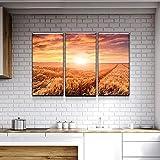 45Tdfc Paisaje de Granja Puesta de Sol Cosecha Pintura al óleo sobre Lienzo Carteles e Impresiones Decoracion Wall Art Picture Living Room Wall 40x80cmx3P