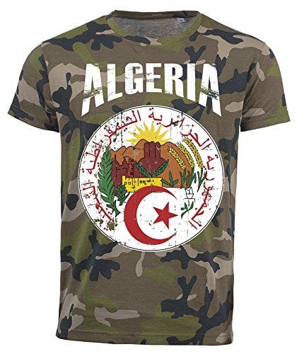 T-Shirt Algerien Camouflage Army WM 2018 .- Vintage Destroy Wappen D01 (M)