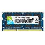 DUOMEIQI 4GB 2RX8 PC3-10600S DDR3 1333MHz SODIMM CL9 204 Pin 1.5v Notebook Non-ECC, Memoria RAM para Laptop sin búfer Compatible con Intel AMD y computadora Mac